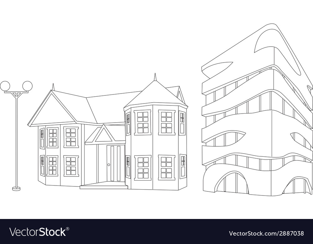 House and builiding in lines vector | Price: 1 Credit (USD $1)