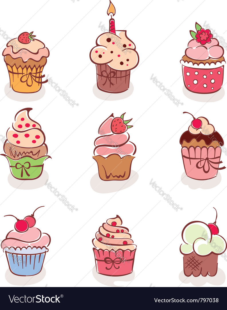 Lovely cakes vector | Price: 3 Credit (USD $3)