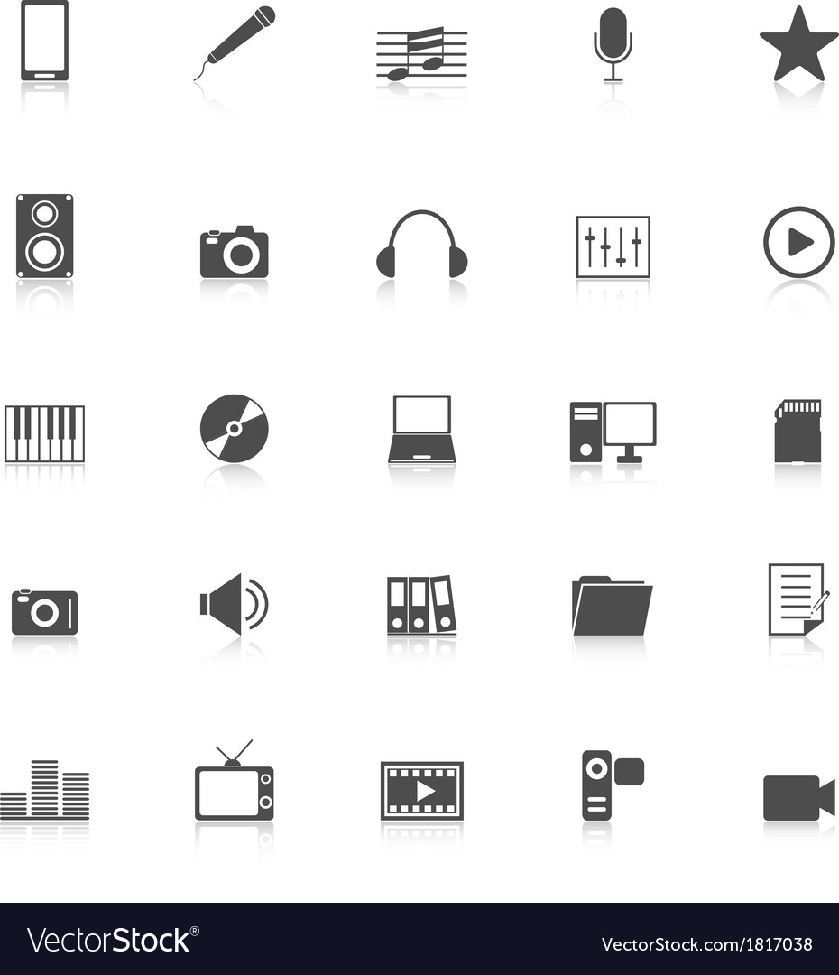 Media icons with reflect on white background vector | Price: 1 Credit (USD $1)