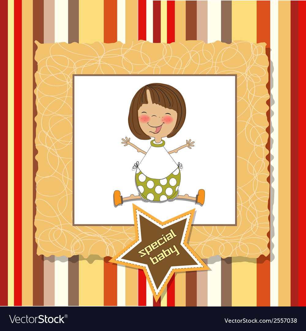 New baby girl announcement card vector | Price: 1 Credit (USD $1)