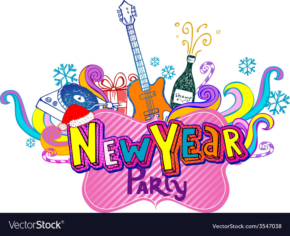 New year party vector | Price: 1 Credit (USD $1)