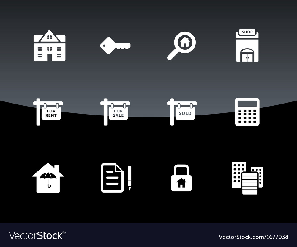Real estate icons on black background vector | Price: 1 Credit (USD $1)