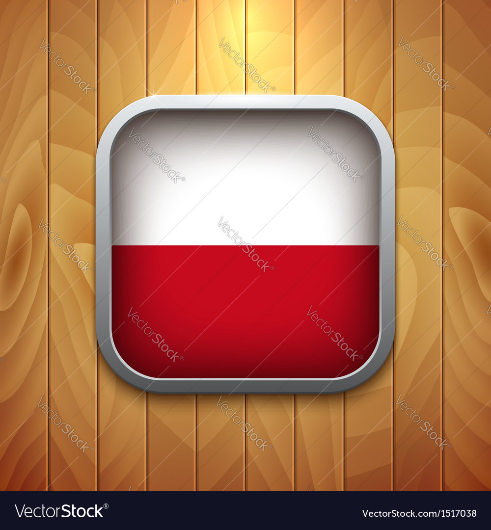 Rounded square polish flag icon on wood texture vector | Price: 1 Credit (USD $1)