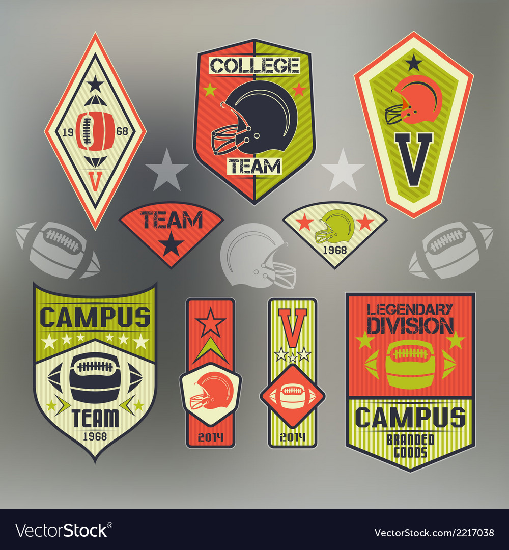 Set of emblems ollege sport team rugby vector | Price: 1 Credit (USD $1)