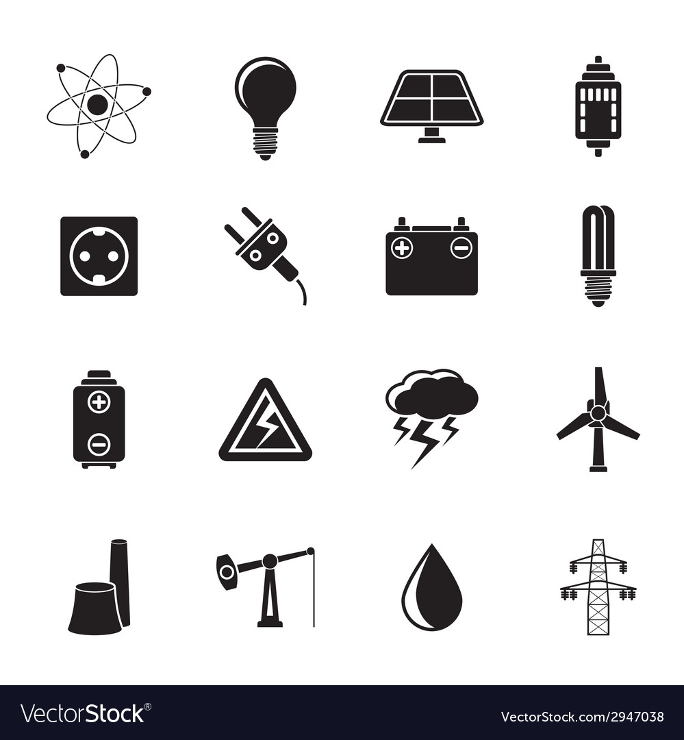 Silhouette power and electricity industry icons vector | Price: 1 Credit (USD $1)