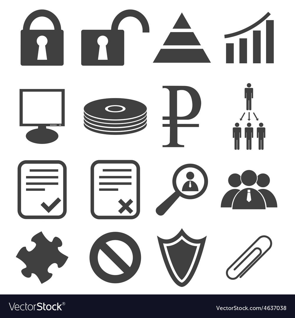 Simple black icon set 12 vector