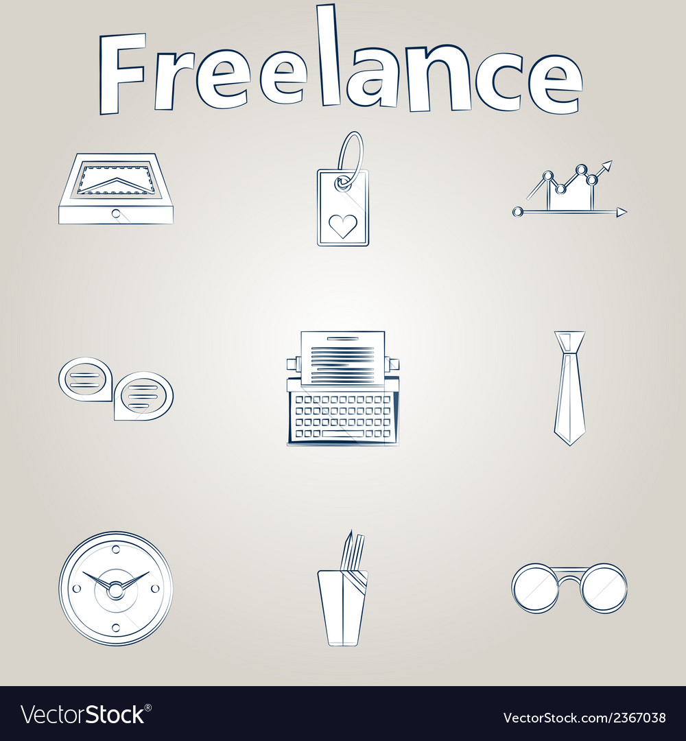 Sketch icons for freelance and business vector   Price: 1 Credit (USD $1)