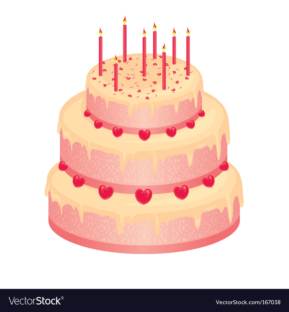 Sweet pink birthday cake vector | Price: 1 Credit (USD $1)