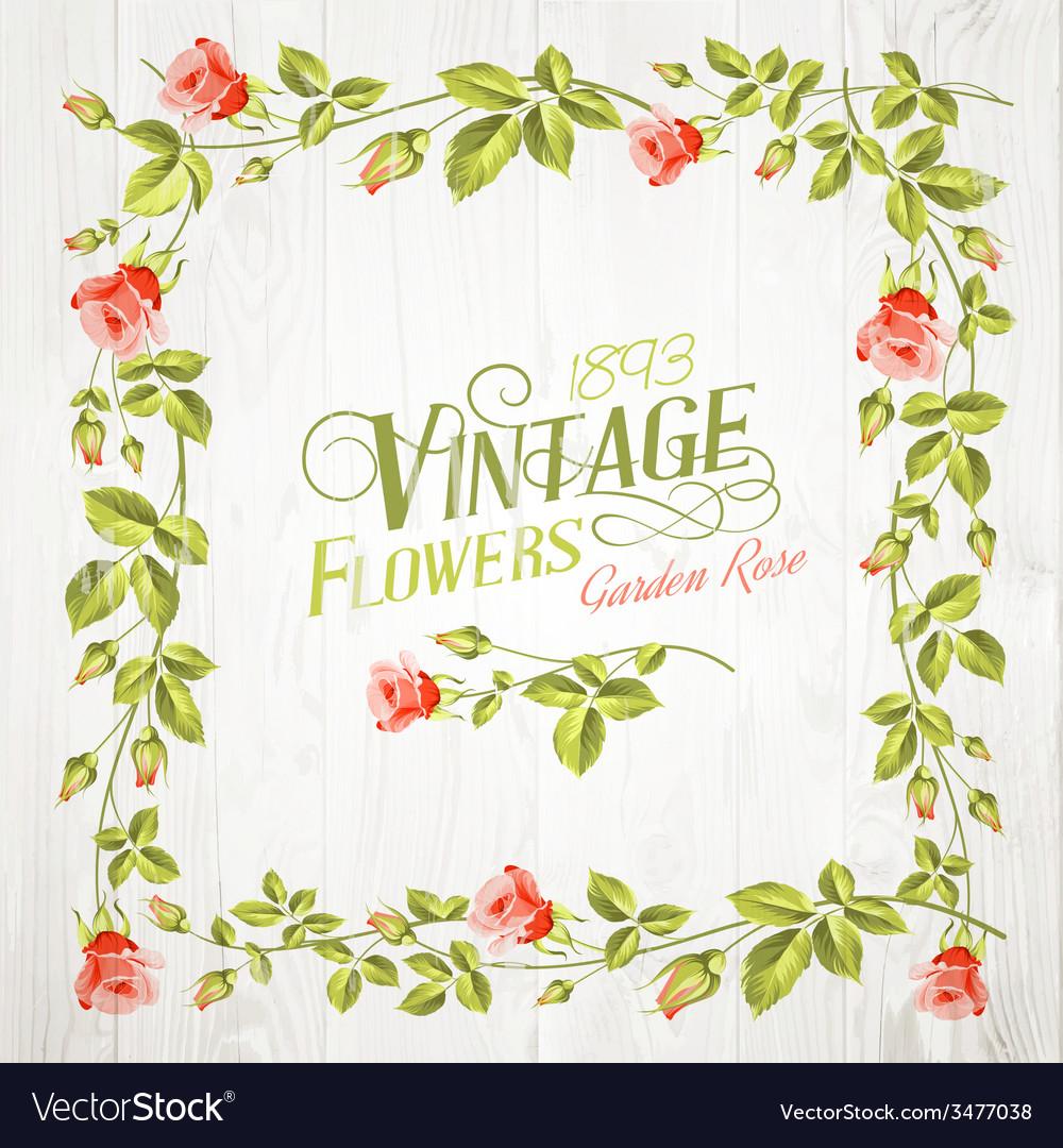 Vintage flower frame vector | Price: 1 Credit (USD $1)