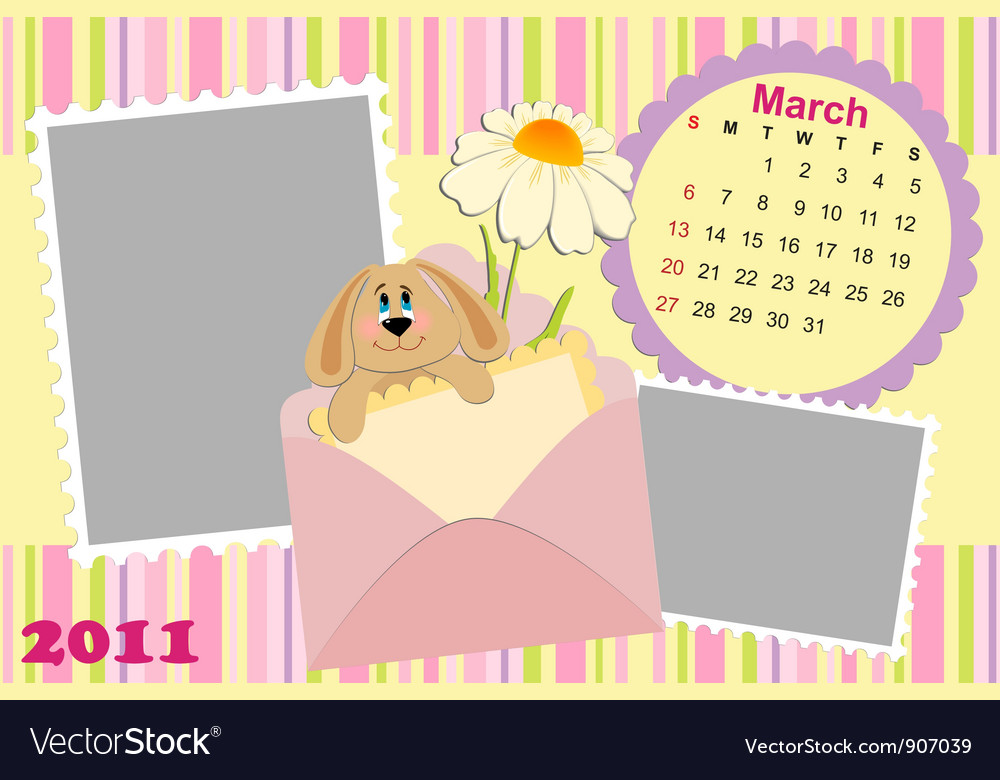 Babys monthly calendar for march 2011s vector | Price: 1 Credit (USD $1)