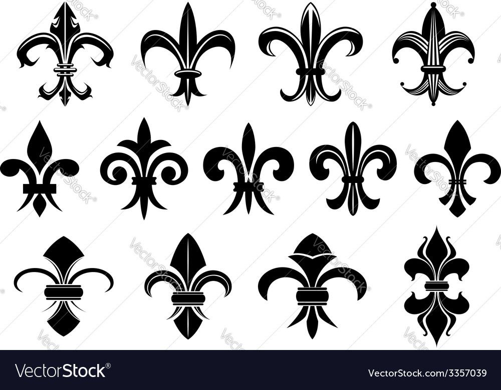 Black royal fleur de lis flowers set vector | Price: 1 Credit (USD $1)