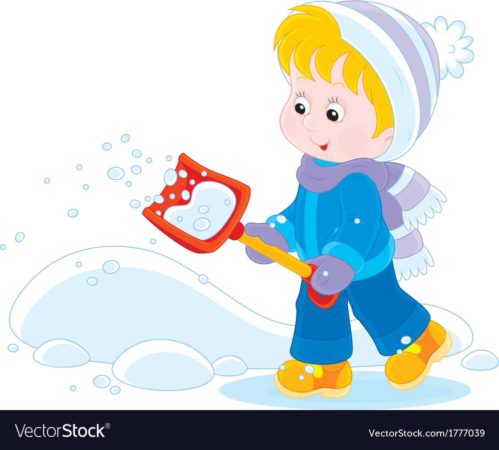 Child with a snow shovel vector | Price: 1 Credit (USD $1)