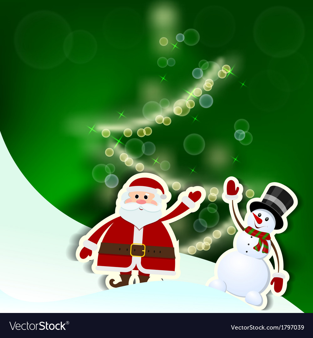 Christmas card with santa claus tree and snowman vector | Price: 1 Credit (USD $1)