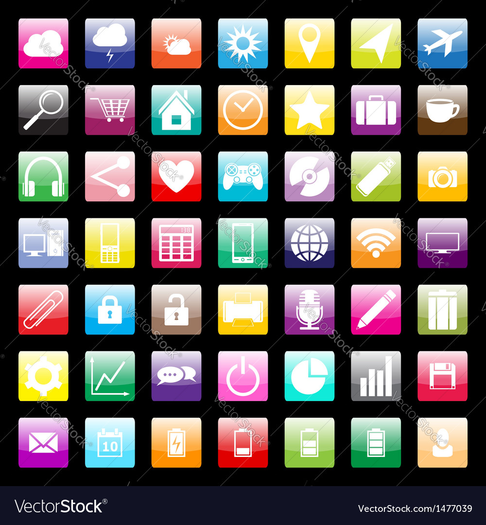 Colorful icons for mobile and web vector | Price: 1 Credit (USD $1)