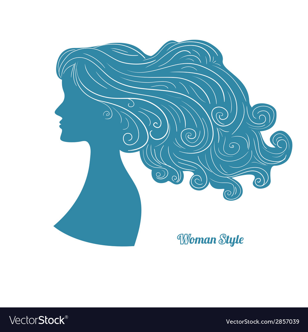 Female profile with long curly hair vector | Price: 1 Credit (USD $1)