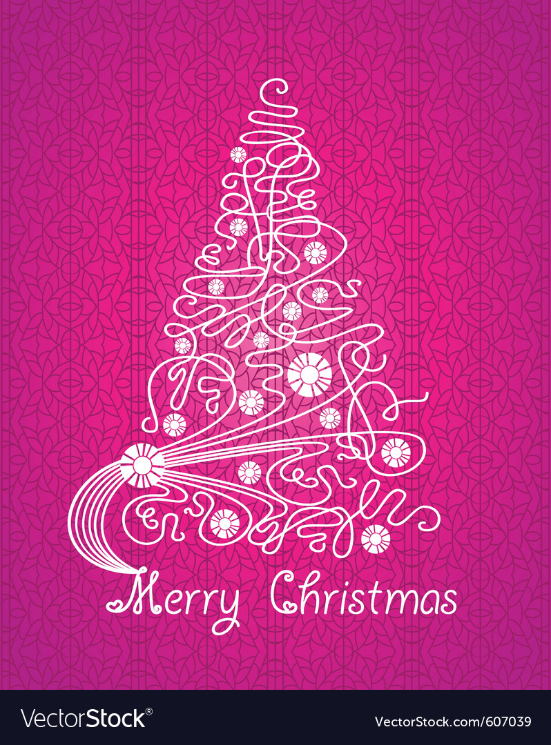 Merry christmas purple card vector | Price: 1 Credit (USD $1)