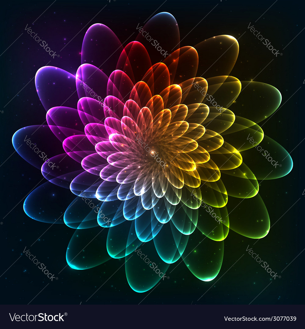 Rainbow colors cosmic flower vector | Price: 1 Credit (USD $1)