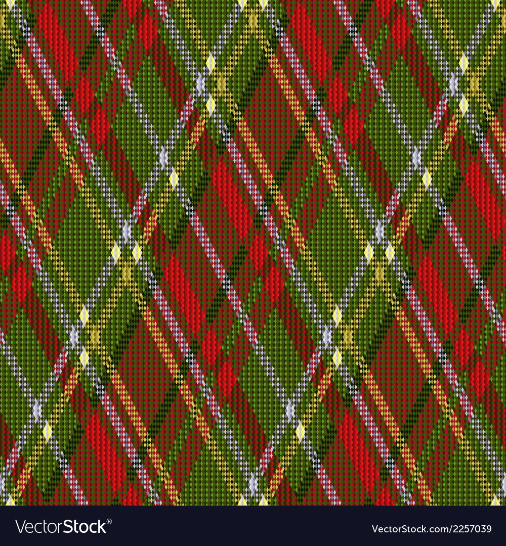 Rhombic tartan red and green seamless texture vector | Price: 1 Credit (USD $1)