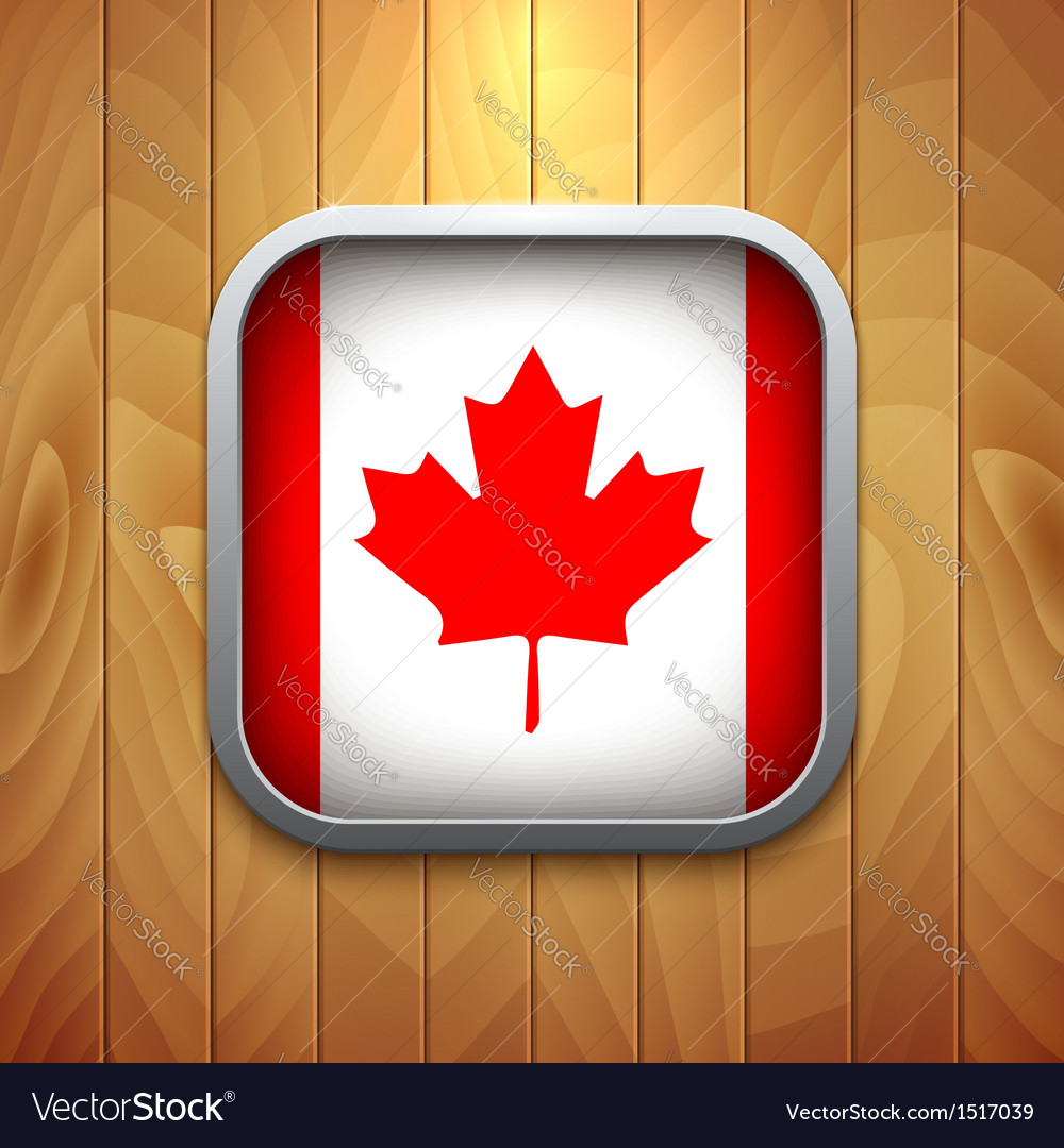 Rounded square canadian flag icon on wood texture vector | Price: 1 Credit (USD $1)