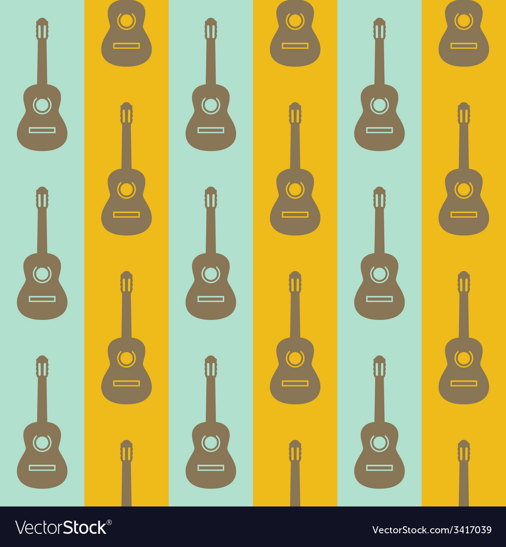 Seamless vintage background with guitars vector | Price: 1 Credit (USD $1)