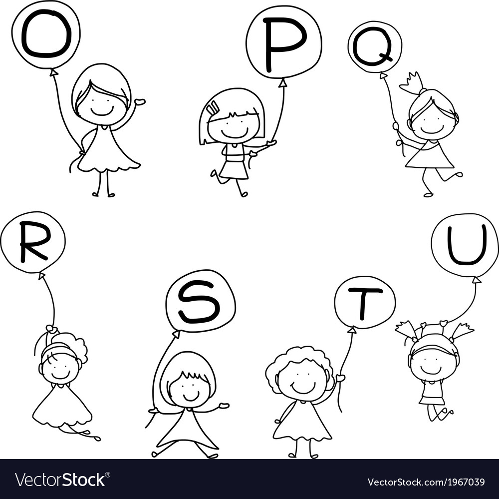 Set of happy alphabet hand-drawn cartoon vector | Price: 1 Credit (USD $1)