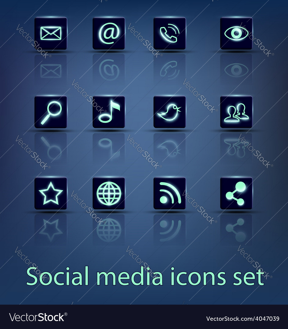 Social media icons set vector | Price: 1 Credit (USD $1)