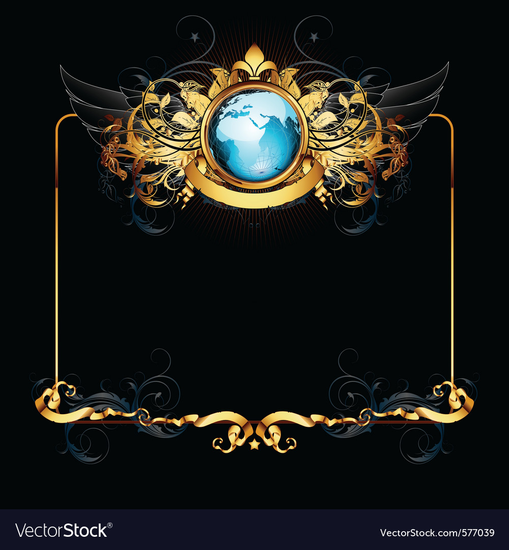 World with ornate frame vector | Price: 1 Credit (USD $1)