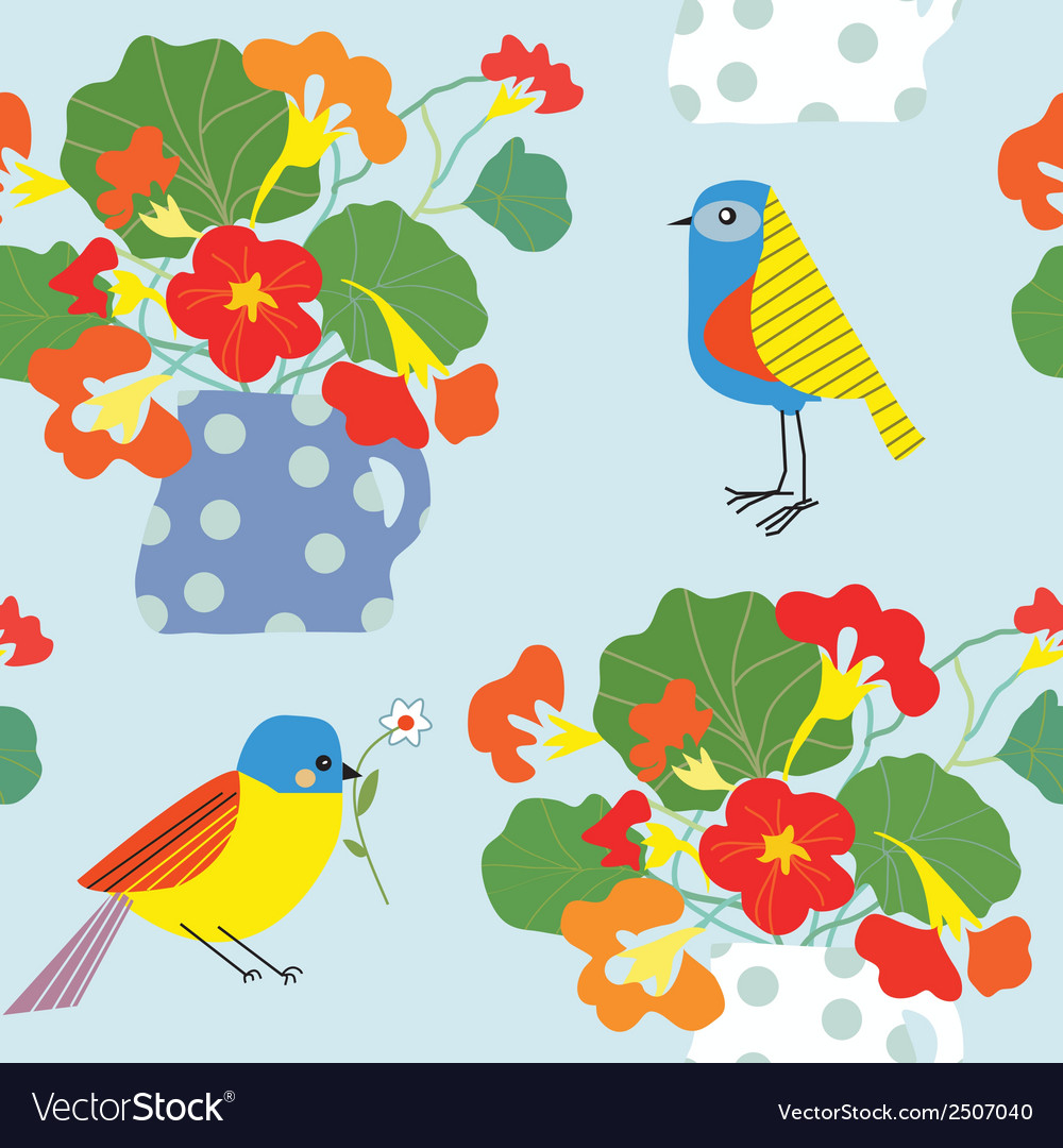 Bird and flowers pot seamless pattern cute retro vector | Price: 1 Credit (USD $1)