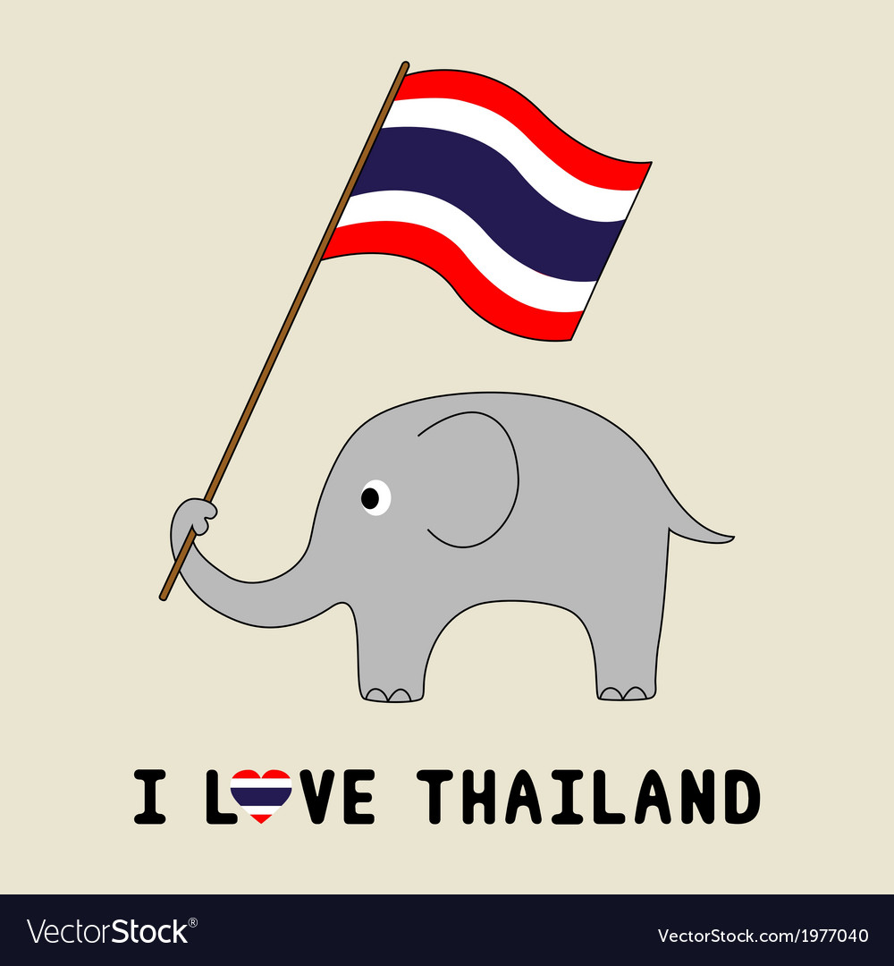 Elephant hold thai flag3 vector | Price: 1 Credit (USD $1)