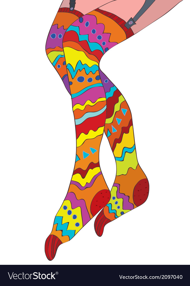 Funny stockings for girls with pattern vector | Price: 1 Credit (USD $1)