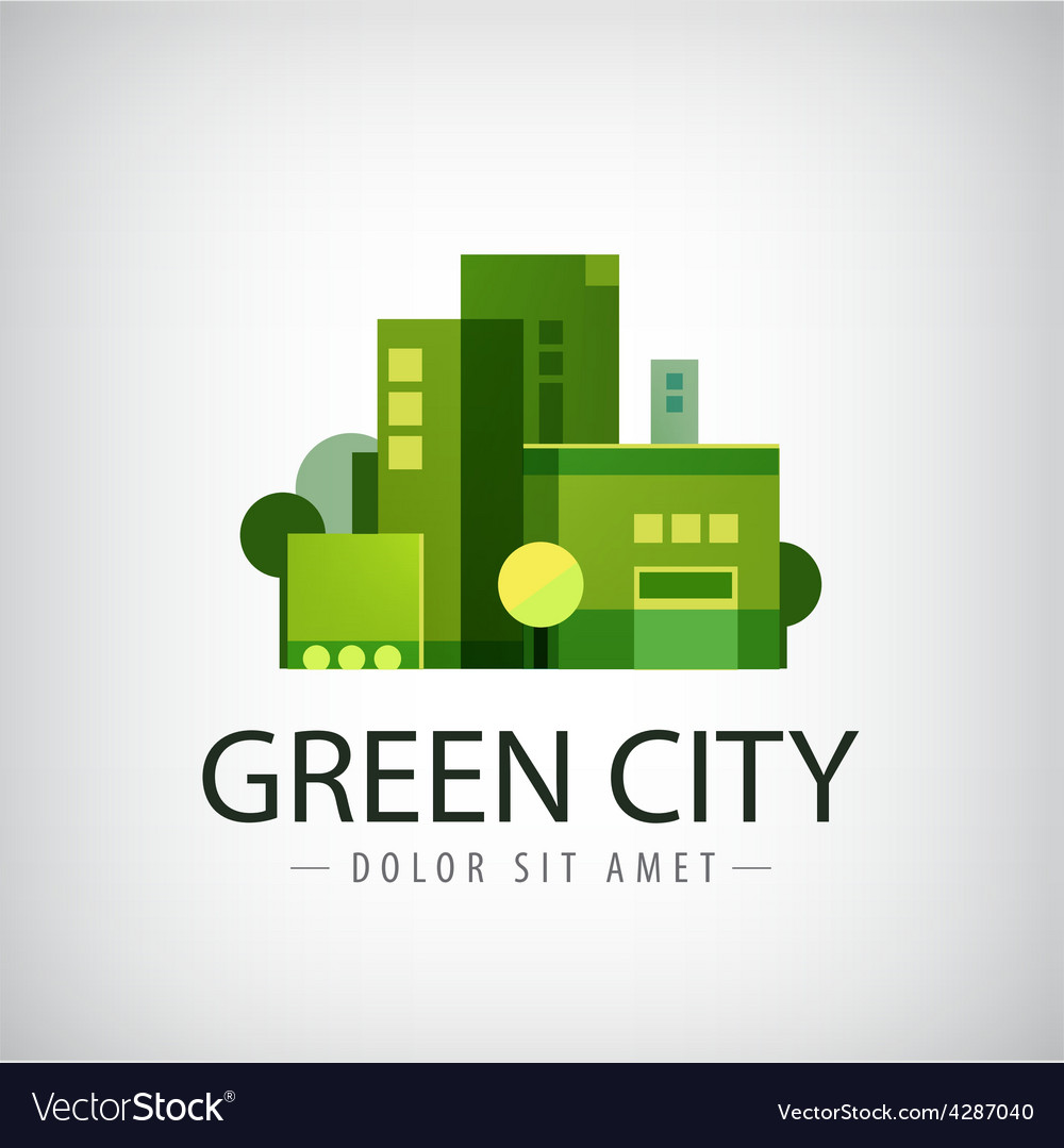 Green city buildings eco icon vector | Price: 1 Credit (USD $1)