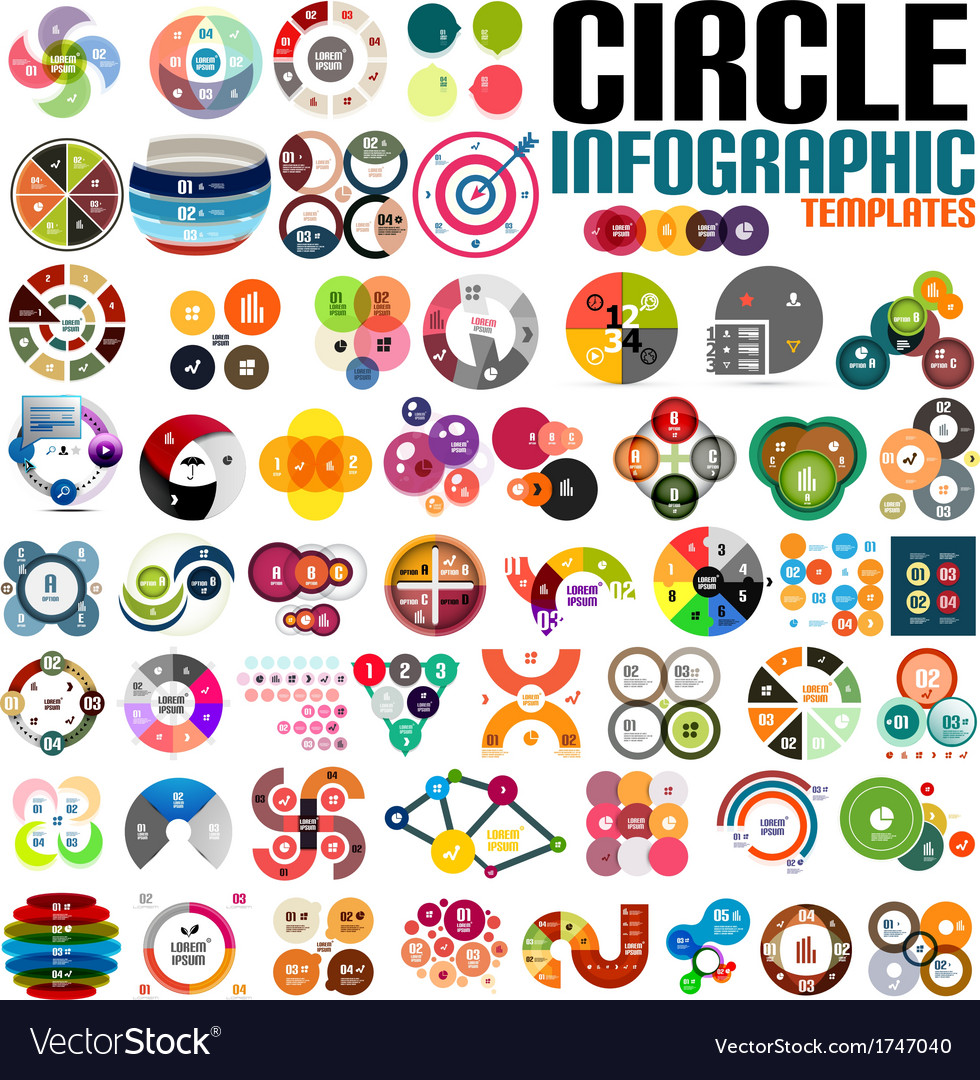 Huge modern circle infographic design template set vector | Price: 1 Credit (USD $1)