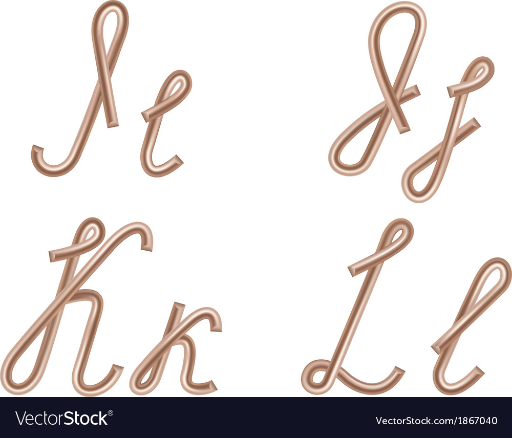I j k l letters made of metal copper wire vector | Price: 1 Credit (USD $1)
