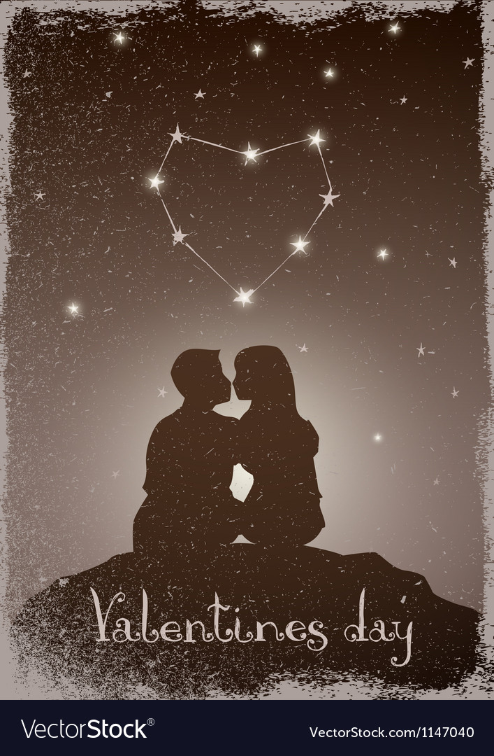 Kissing couple under the constellation of love vector | Price: 1 Credit (USD $1)