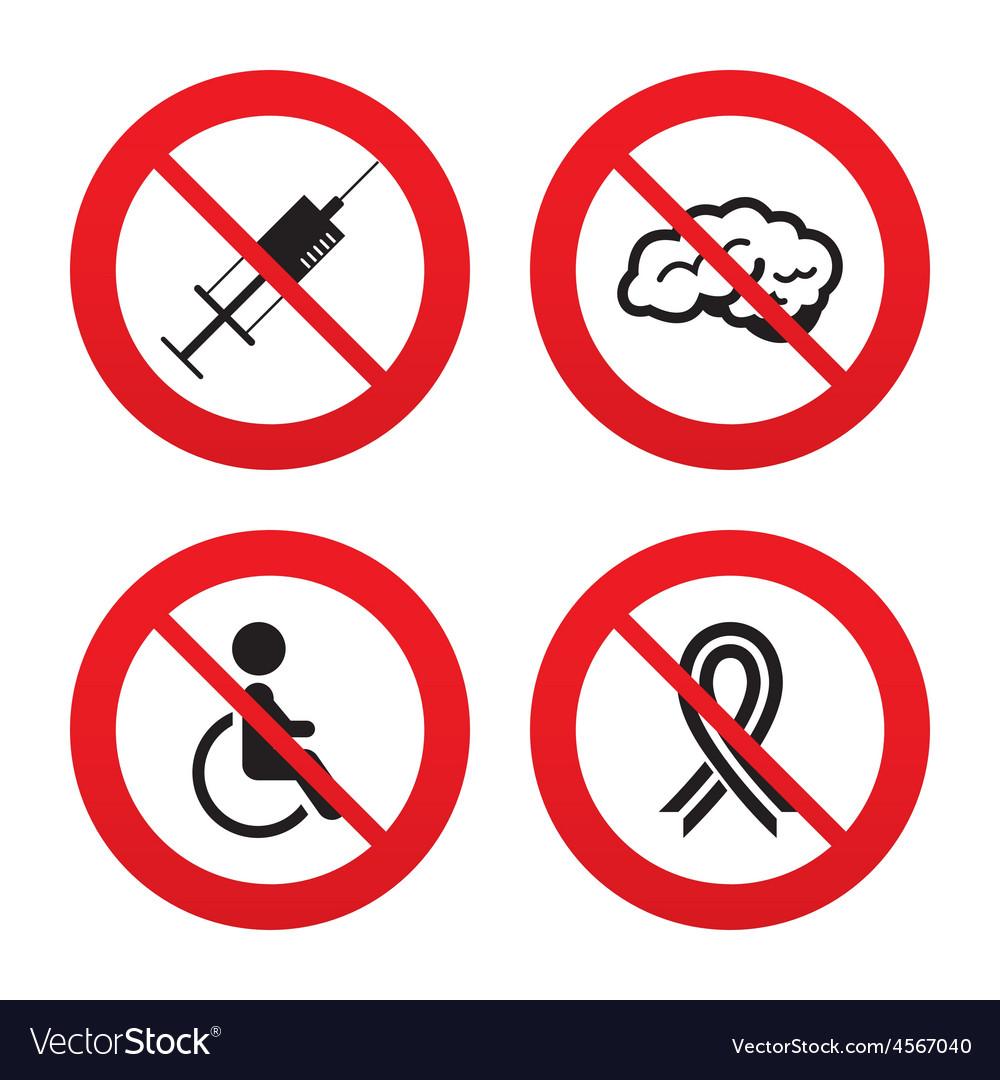 Medicine icons syringe disabled brain vector | Price: 1 Credit (USD $1)
