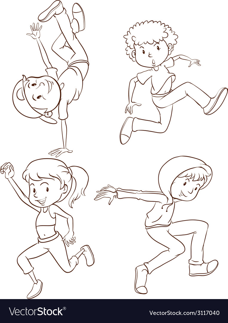 Plain sketches of the hiphop dancers vector | Price: 1 Credit (USD $1)