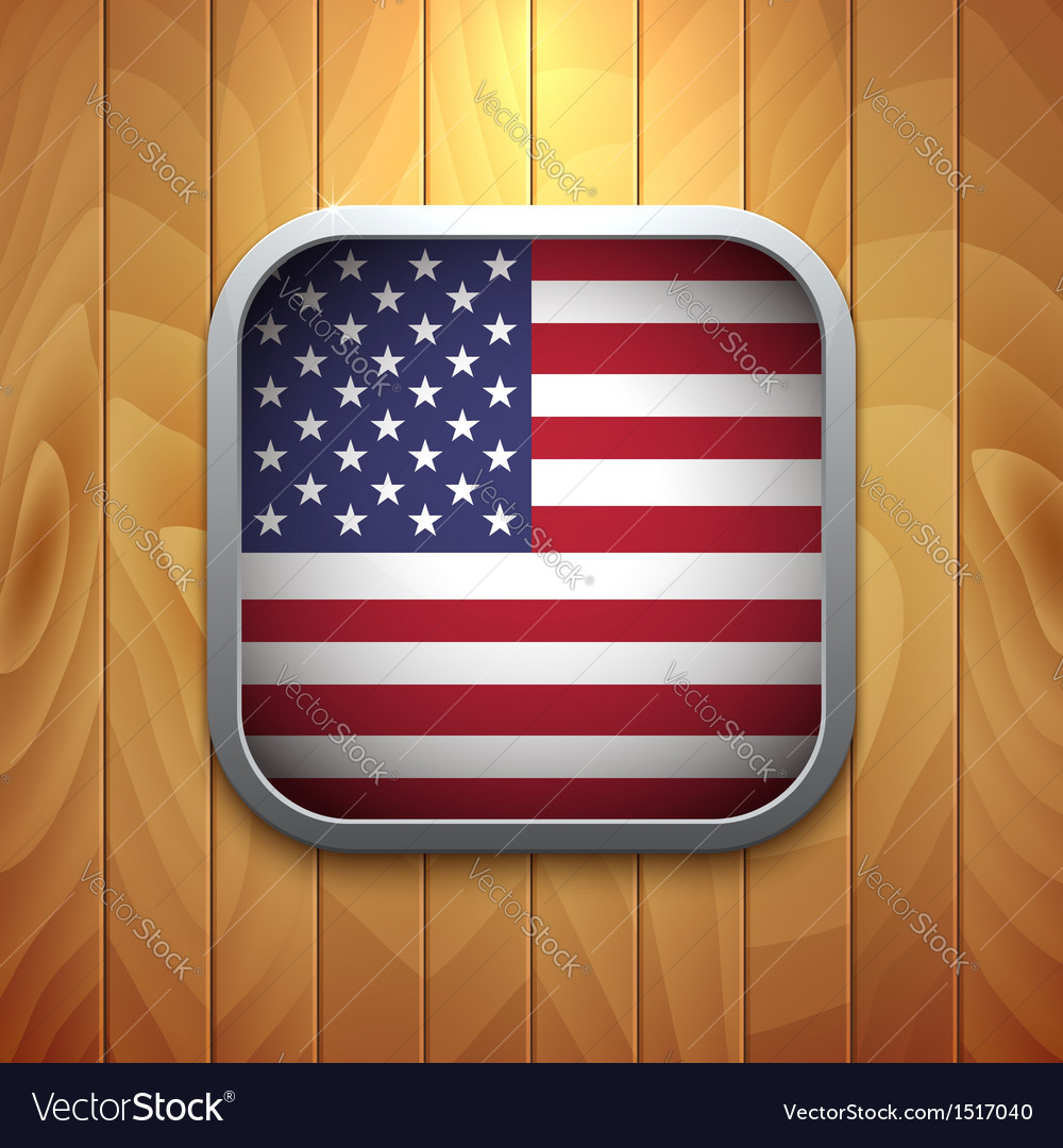 Rounded square usa flag icon on wood texture vector | Price: 1 Credit (USD $1)