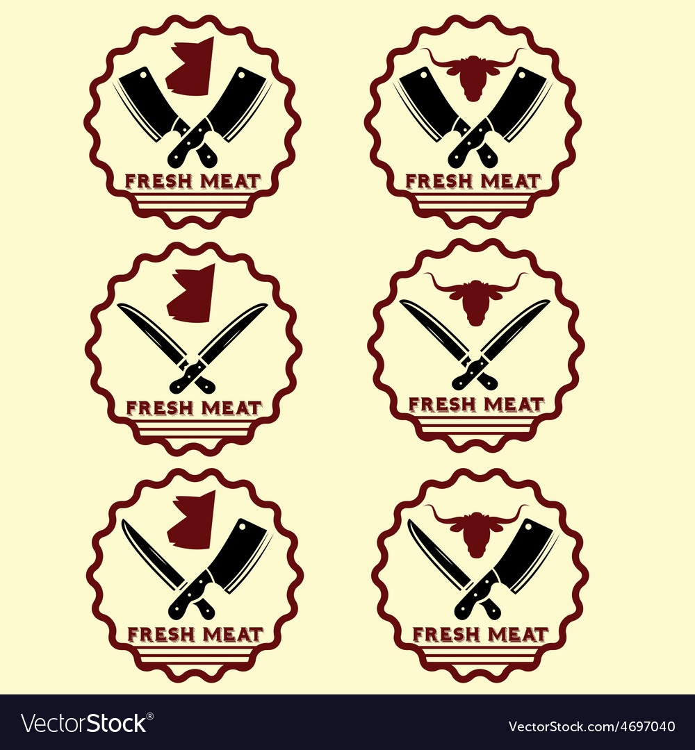 Set of fresh meat emblems vector | Price: 1 Credit (USD $1)