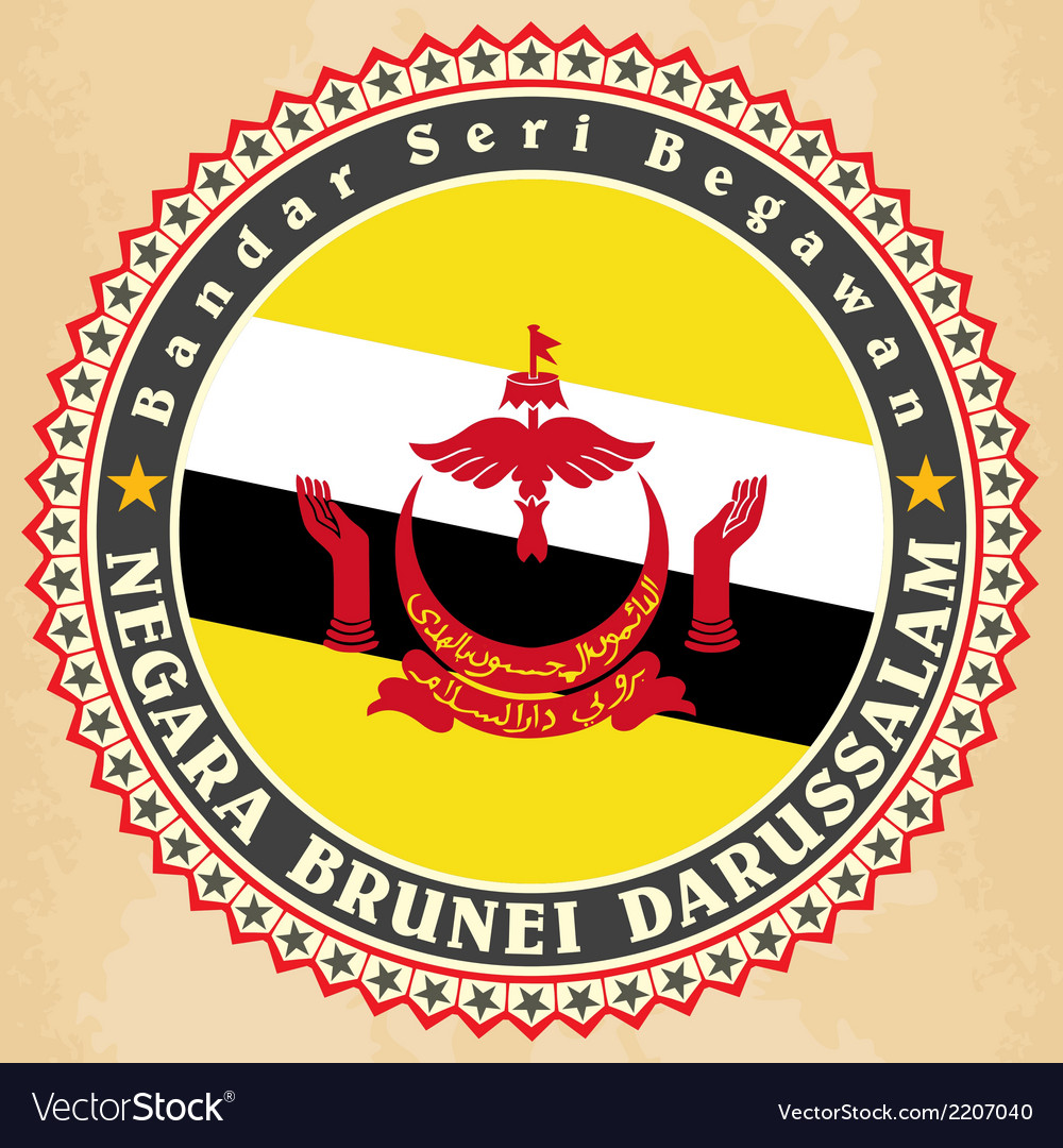 Vintage label cards of brunei flag vector | Price: 1 Credit (USD $1)
