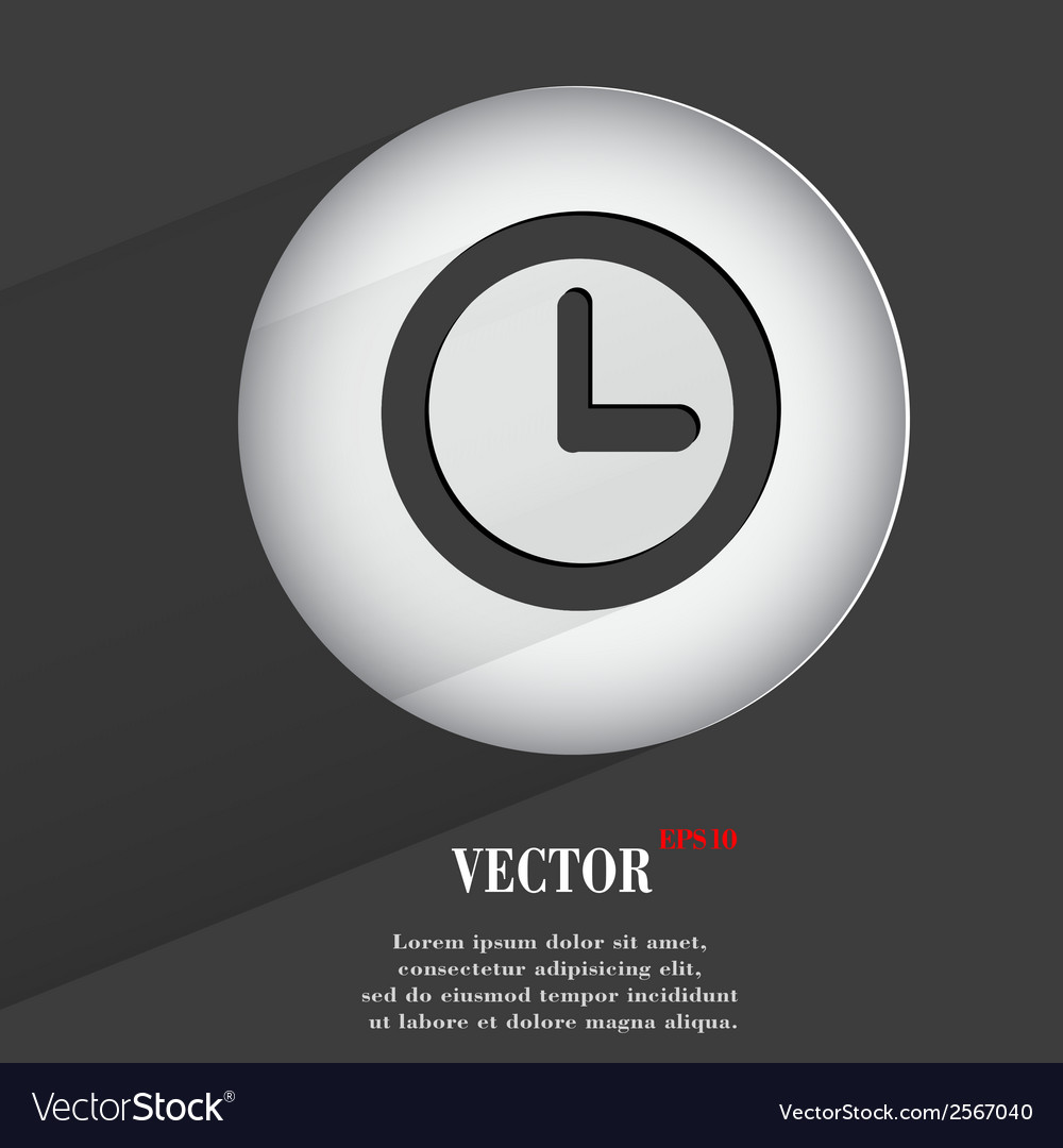 Watch flat modern web button with long shadow and vector | Price: 1 Credit (USD $1)