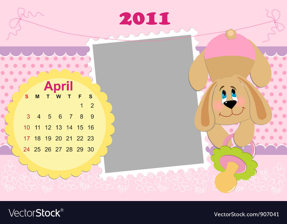 Babys monthly calendar for april 2011s vector | Price: 1 Credit (USD $1)