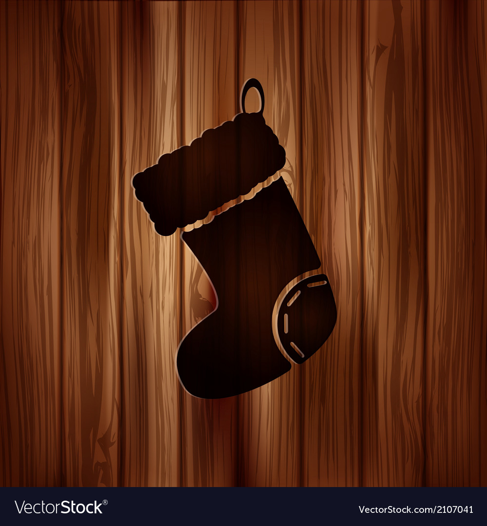 Christmas socks icon wooden background vector | Price: 1 Credit (USD $1)