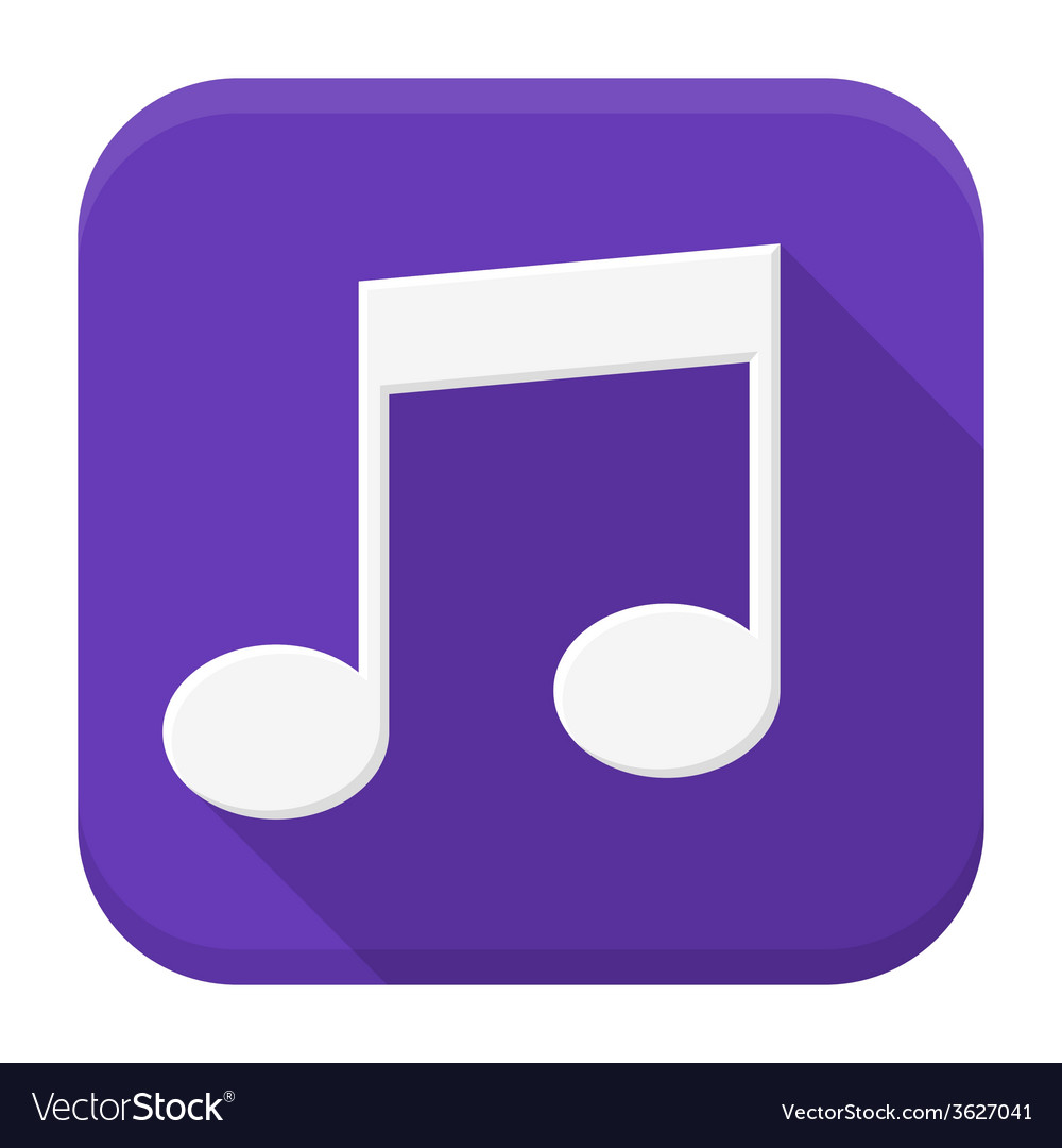 Music white note flat app icon with long shadow vector | Price: 1 Credit (USD $1)
