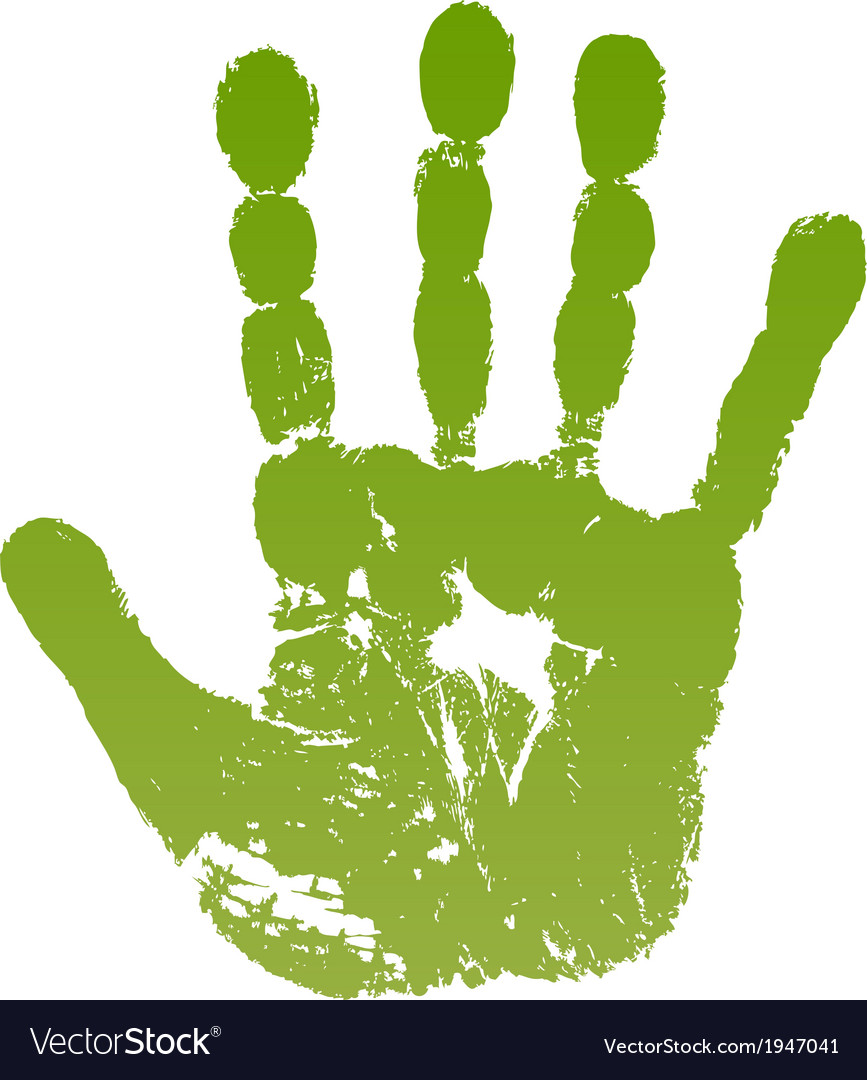 Old man green hand print vector | Price: 1 Credit (USD $1)