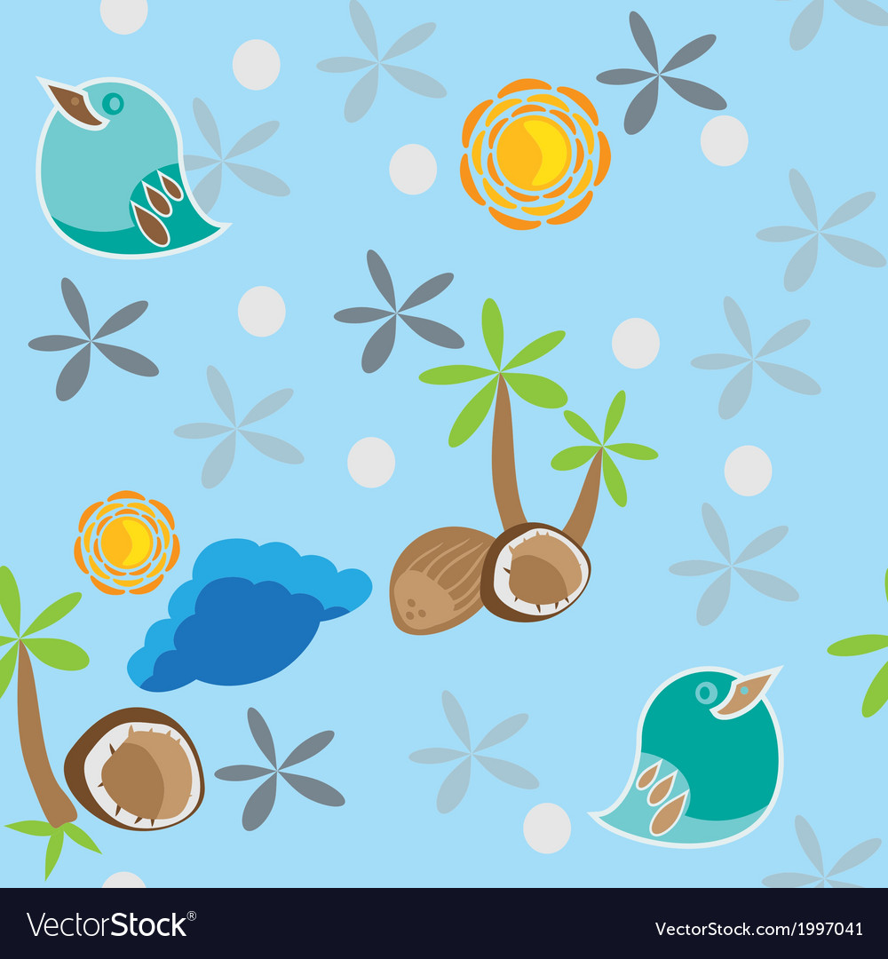 Seamless pattern with bird palm tree and coconuts vector | Price: 1 Credit (USD $1)