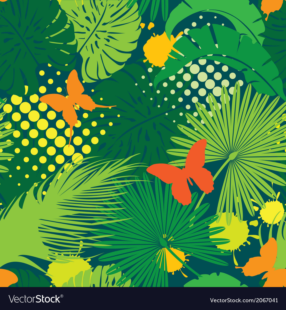 Seamless pattern with palm trees leaves and butter vector | Price: 1 Credit (USD $1)