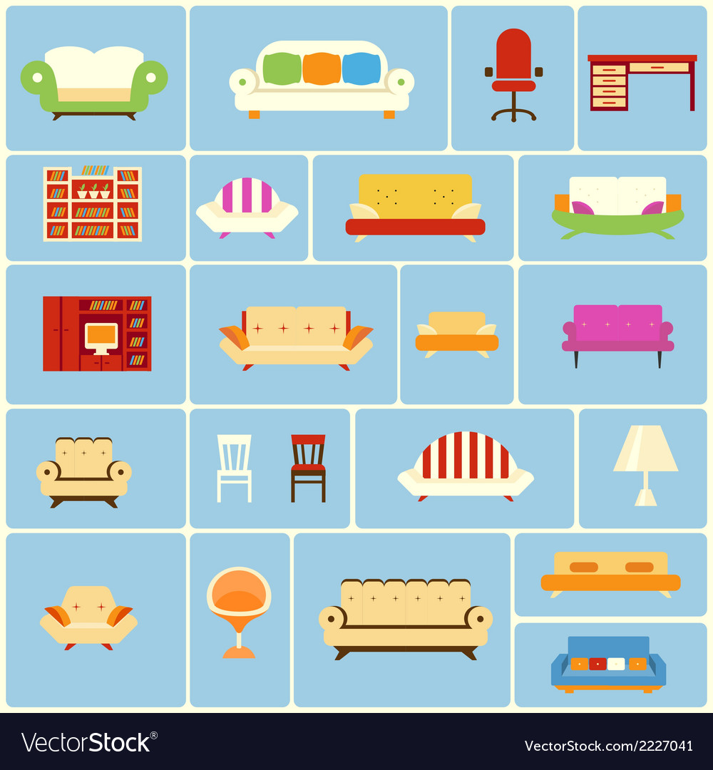 Set of furniture icons vector | Price: 1 Credit (USD $1)