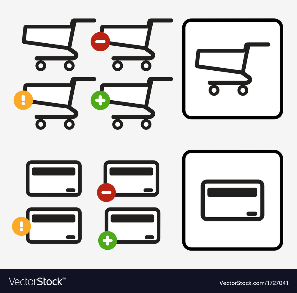 Shopping cart credit card payment app icons set vector | Price: 1 Credit (USD $1)