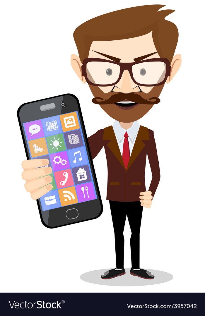 Businessman with phone in hand vector | Price: 1 Credit (USD $1)
