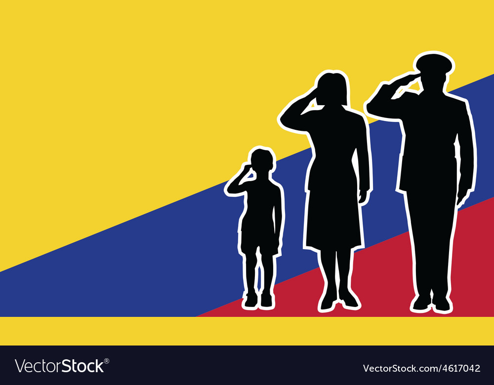 Colombia soldier family salute vector | Price: 1 Credit (USD $1)